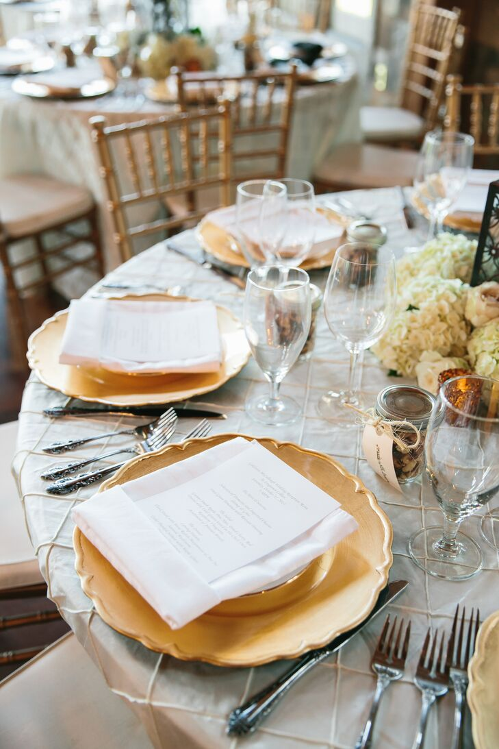 Silver Table Linens with Gold Chargers