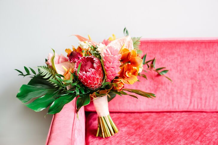 Tropical-Inspired Wedding Bouquet at The Fig House in Los Angeles