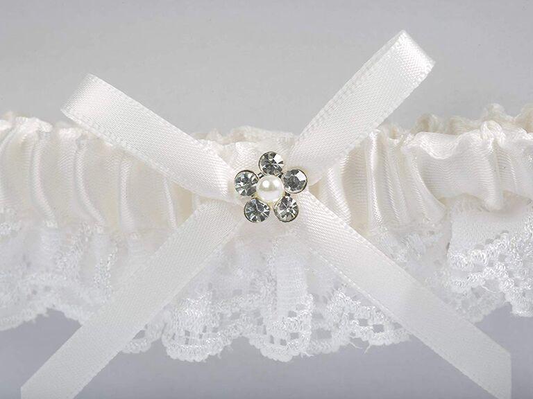 Lace Garter Set Rhinestone Bow Garter and Toss Garter Set Black and White Wedding Garter Set Wedding Garter Shabby Flower Bridal Garters