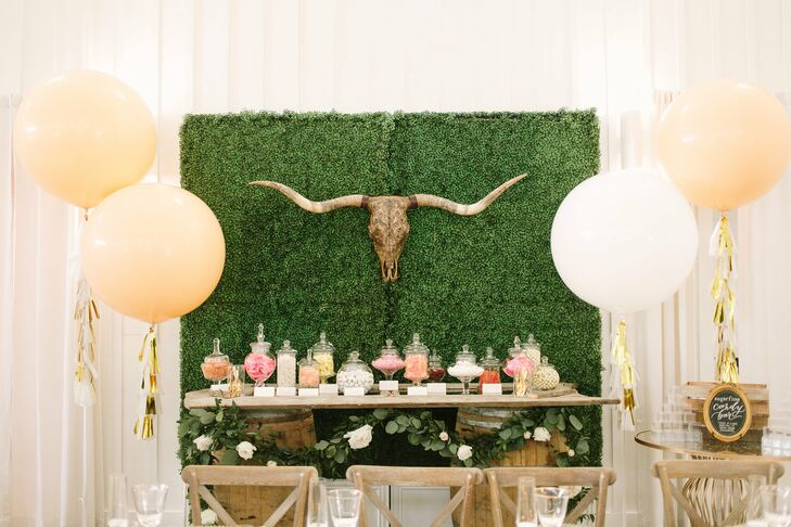 Candy Table with Accented with Balloons and Greenery Backdrop
