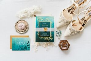 Teal Invitations for Wedding at the Royal Crest Room in St. Cloud, Florida