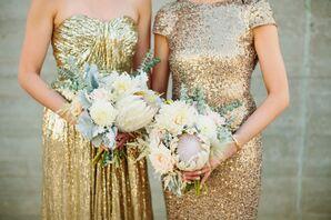 Pastel King Protea and Dahlia Bridesmaid Bouquets