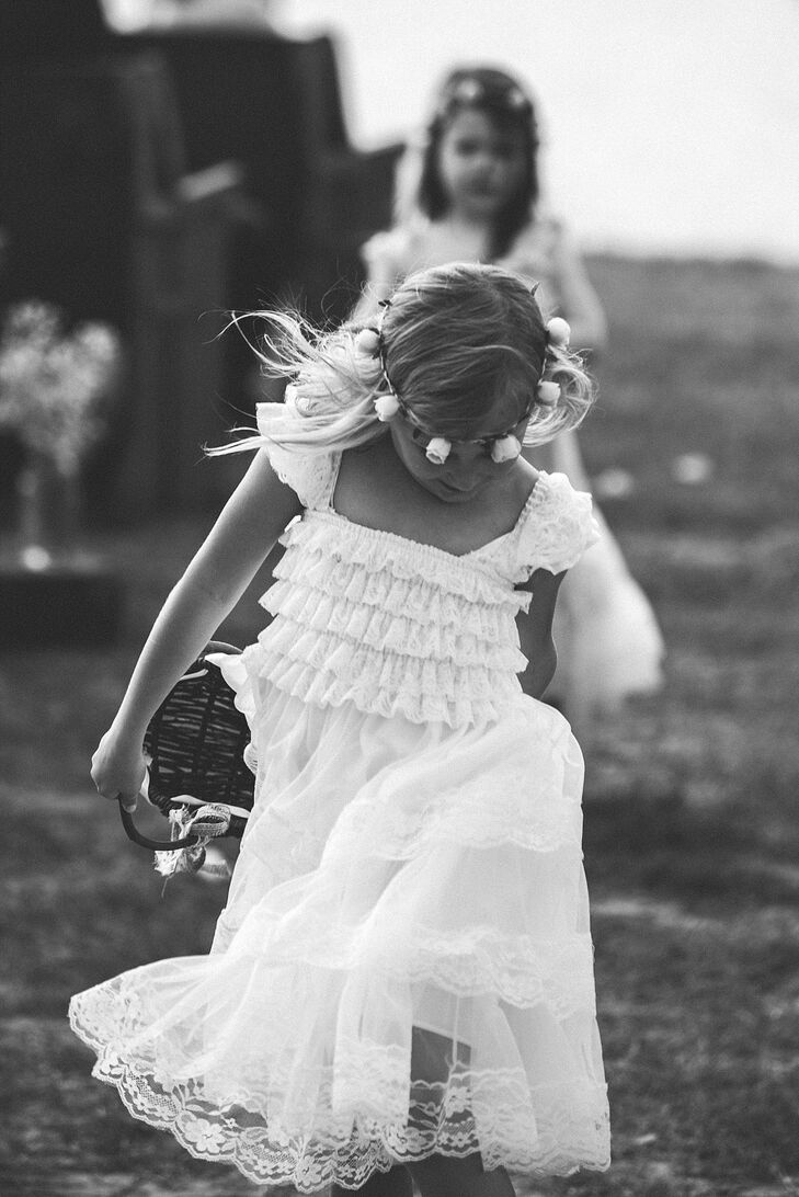 White Ruffled Flower Girl Dress
