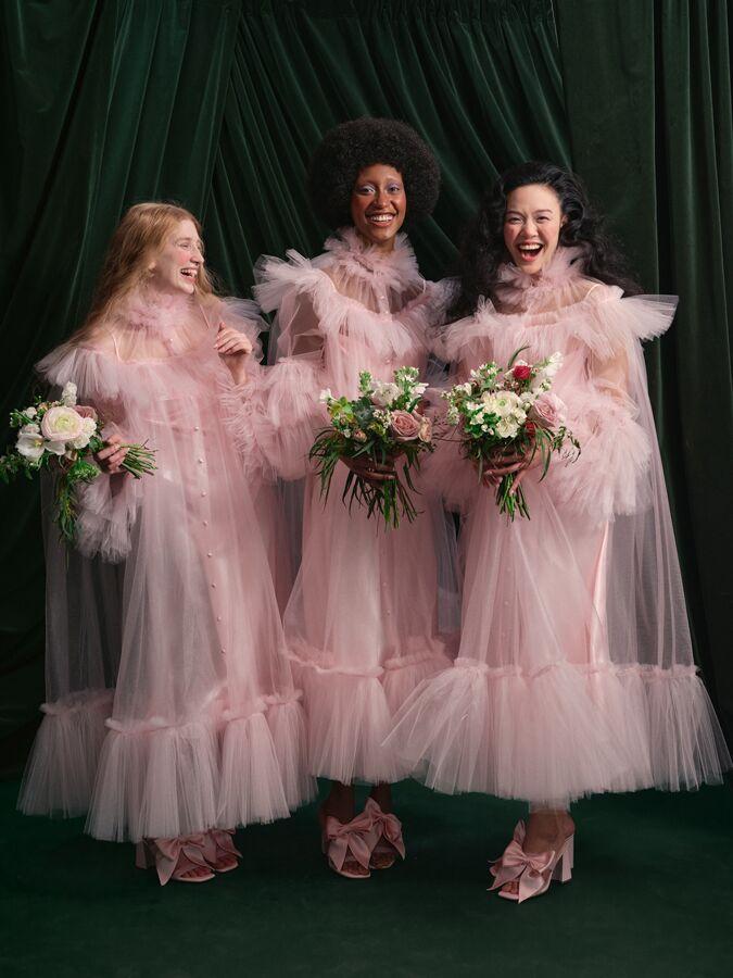Wiederhoeft pink tulle dress with ruffle hem