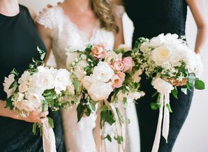Ivory and Blush Peony Bridesmaid Bouquets with Ribbon