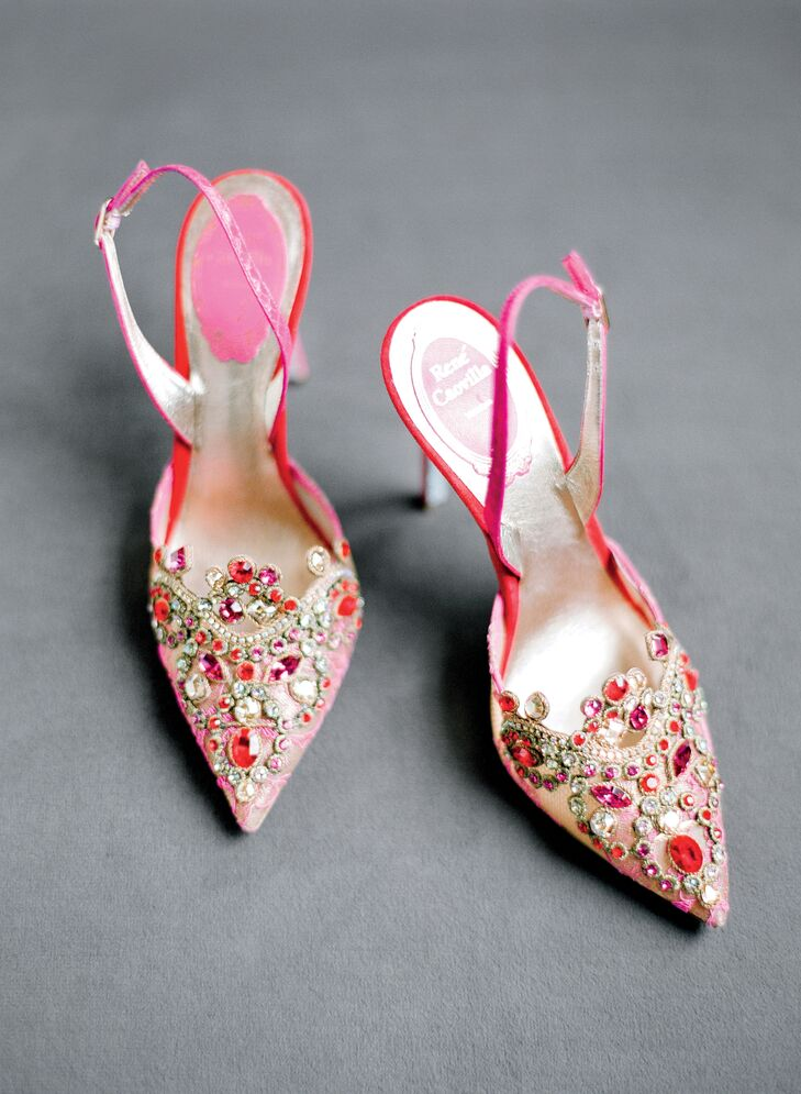 Lauren made a colorful statement with a pair of fuchsia, Swarovski-encrusted Rene Caovilla sling backs.
