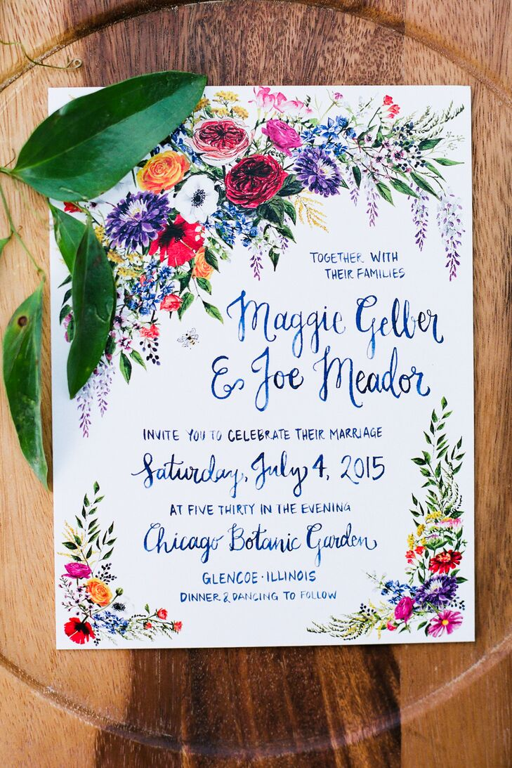 "Maggie and Joe's custom-designed invitation suite featured bold blooms to signify the day's garden party theme. Bold blues even coordinated with the couple's blue-hued garments they wore for the ceremony and reception. Plus, all the invitations were printed on recycled papyrus. ""Everything she created was extraordinary,"" Maggie says of working with Liz Dixon at EJD Design on the paper goods. ""Every email I received from her was like a tiny gift."""