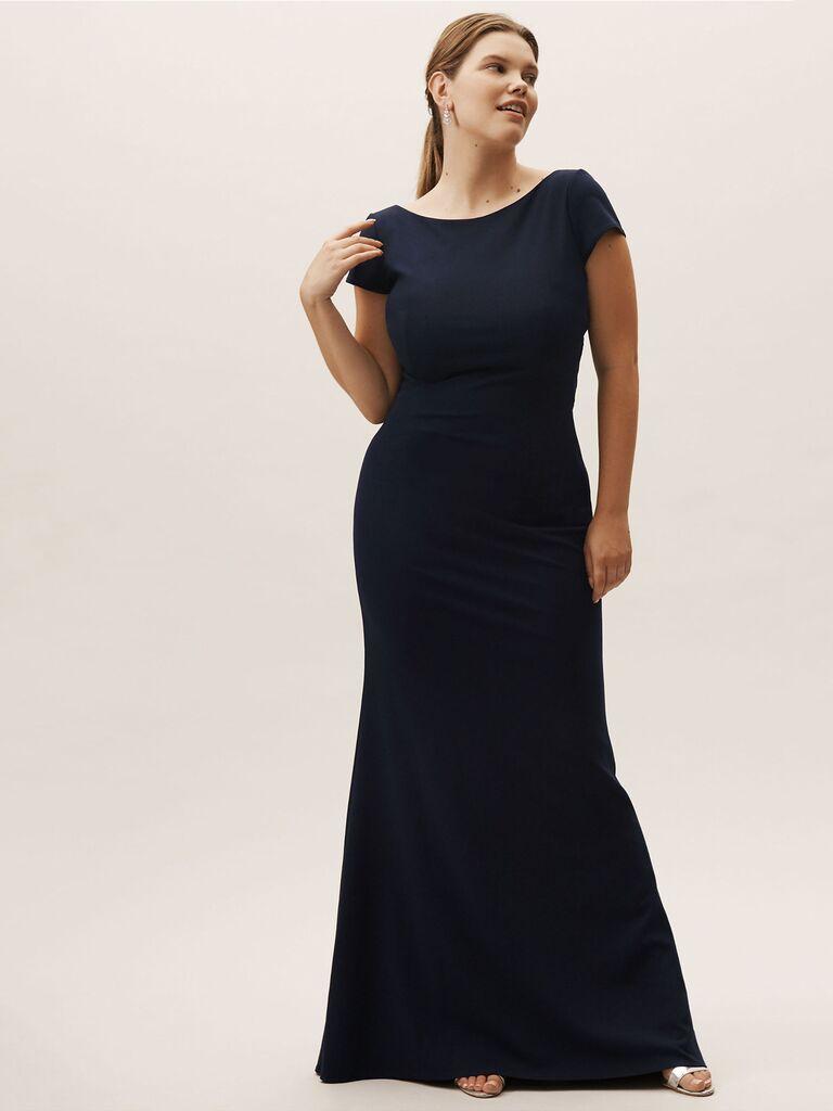 Navy boat neck plus size bridesmaid dress