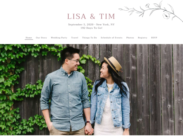 Graceful Botanical Wedding Website Template, The Knot