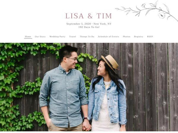 Graceful Botanical Wedding Website Template, The Knot