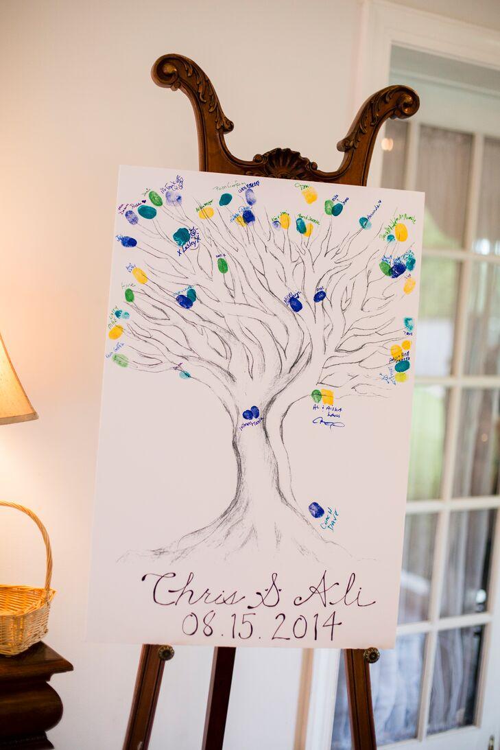 Fingerprints Tree Guest Book Display