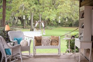 Wicker Lounge Furniture and Burlap Pillows