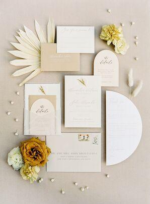 Boho Custom Wedding Invitation With Neutral Color Palette