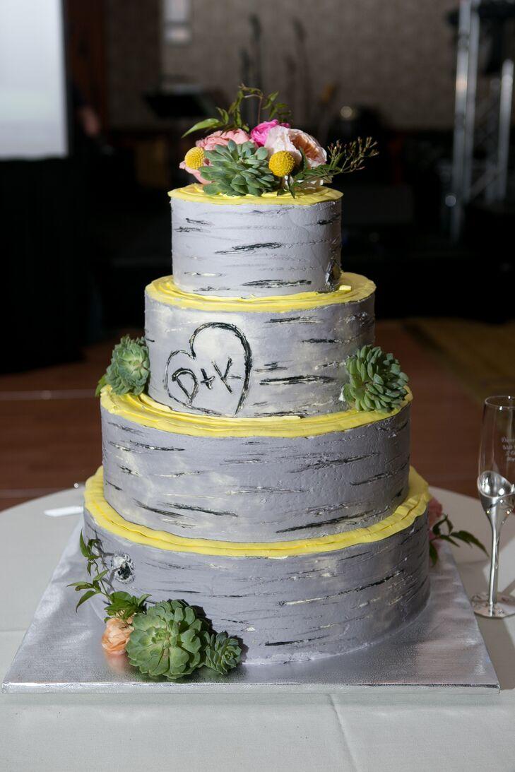Gray Birch Tree Inspired Buttercream Cake