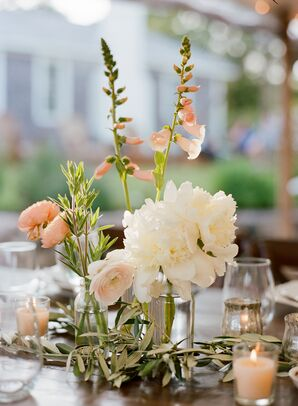Bud Vases of Ranunculus, Peonies and Foxglove