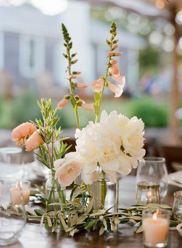 Bud Vases of Ranunculus, Peonies and Foxglove