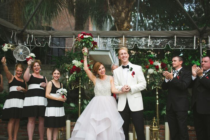 Jeff's stepfather officiated the outdoor ceremony, which took place in Broussard's secluded courtyard beneath a clear tent.