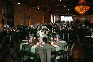 Round Reception Tables with Black Tablecloths