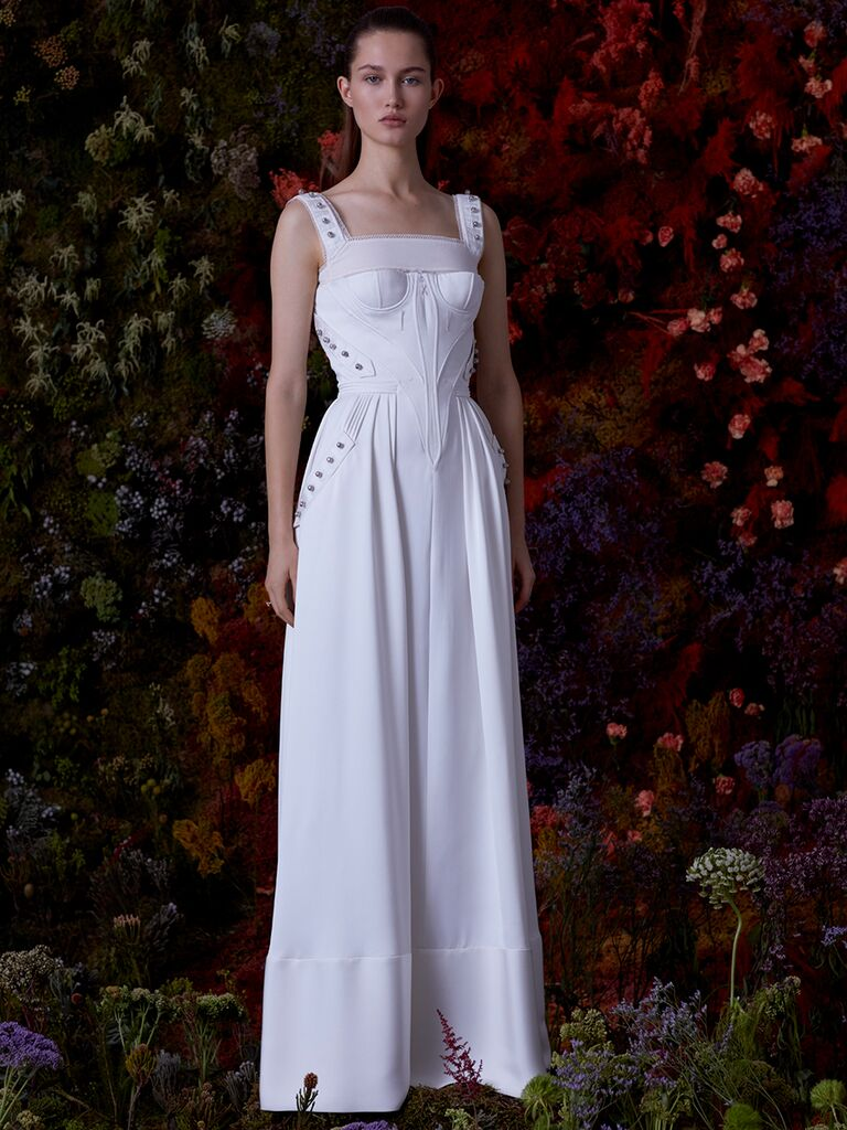 EDEM A-line dress with fitted waist and embroidery