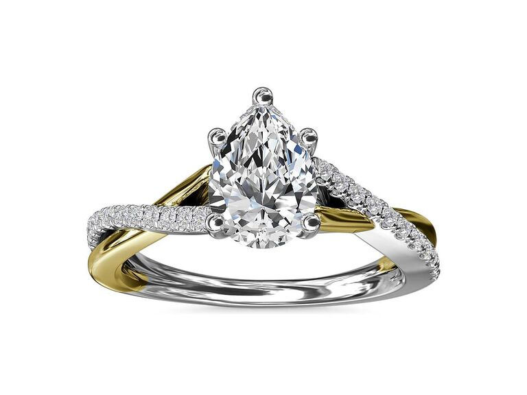 Blue Nile two-tone twisted diamond engagement ring in 14K white and yellow Gold