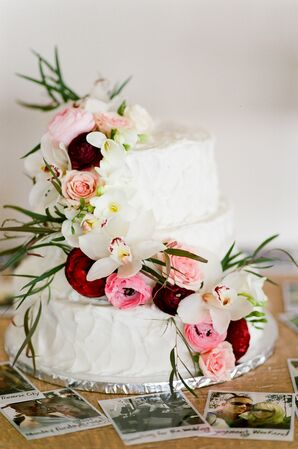 Orchid and Ranunculus Adorned Wedding Cake