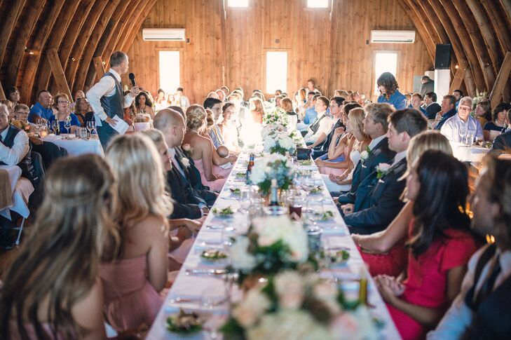 """""""Having our reception in a barn was wonderful because we were able to use the natural character of the barn to add to the style of the wedding,"""" Amanda says."""