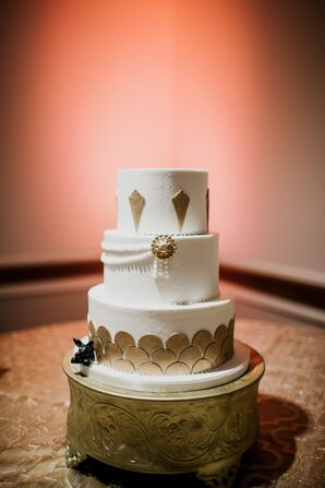 Round Cake with Gold Accents