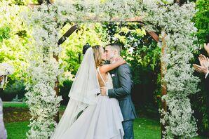 Garden Wedding Ceremony Under Baby's Breath Arch