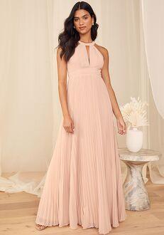 Lulus Ode to Romance Rose Pleated Sleeveless Maxi Dress Halter Bridesmaid Dress