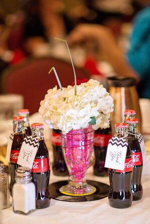 Retro Hydrangea Milkshake Centerpieces with Vinyl Records and Coke Place Cards