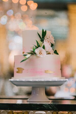Simple Tiered Cake with Painted Pink and Gold Touches