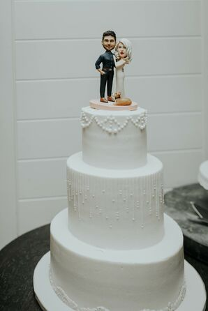 Art Deco Fondant Wedding Cake with Personalized Cake Topper