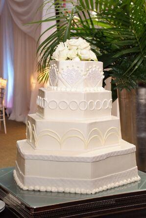 White Four-Tier Geometric Wedding Cake
