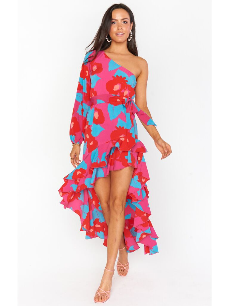 Fuschia red and blue one-shoulder maxi dress with ruffles