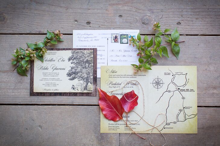 To give guests a peek of the romantic, autumnal affair to come, Mariellen and Blake announced their impending nuptials with rustic, woodland stationery with a vintage-inspired flair. Antique paper set against a wood grain backdrop boasted elegant formal script and an illustration of an old oak tree, a nod to the wedding's locale. The pair also provided guests with a map of the area and details other about the day on charming antiqued paper.