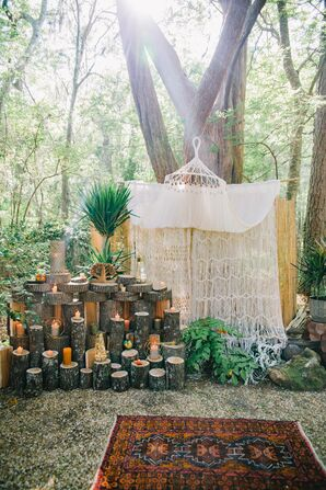Macrame Ceremony Altar with Eclectic Décor