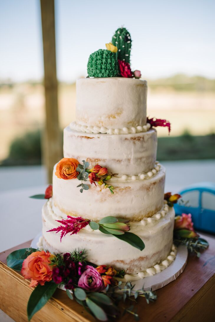 Cactus-Topped Naked Cake