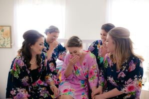 Fuchsia and Navy Floral Bridesmaid Robes