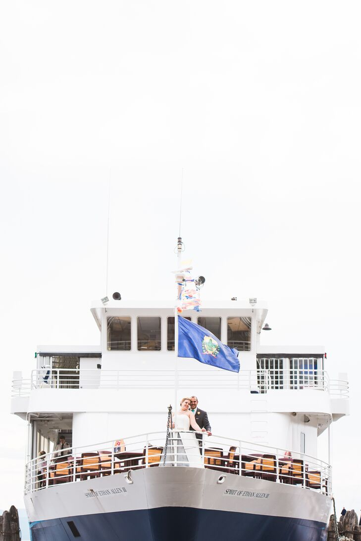 The couple wanted a fun, unique wedding so they chose to get married on the Spirit of Ethan Allen cruise on Lake Champlain.