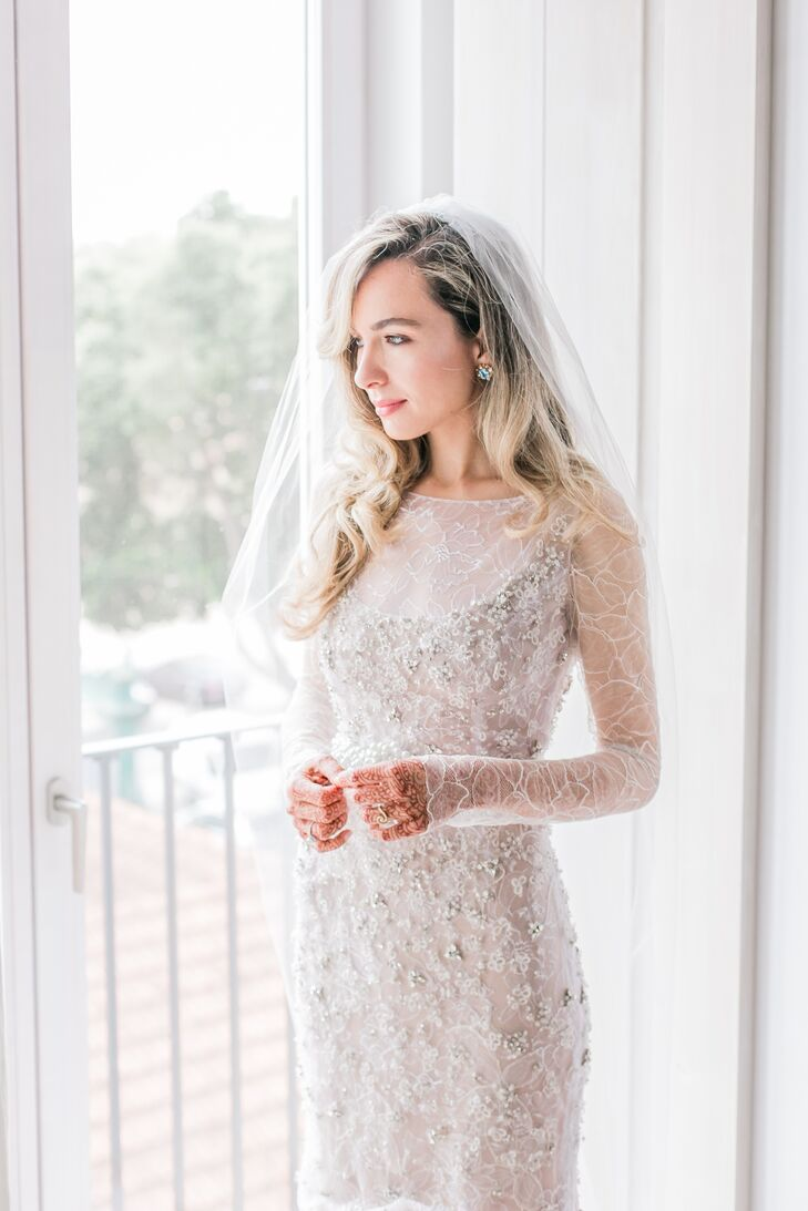 Bride with Embellished Formfitting Dress, Veil and Down Hairstyle