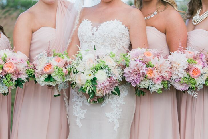 """""""I wanted a very full bouquet that had the look of grabbing a bunch of flowers right out of the garden and tying them together,"""" says Kelly. """"We used garden roses, dahlias, and hydrangeas in blush pinks and cream colors."""""""