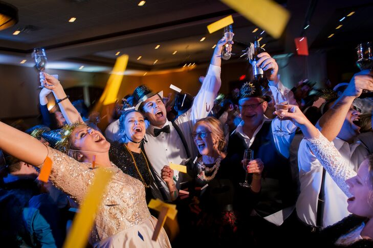 The couple bought traditional New Year's Eve party favors, including hats, blowers, noise-makers, glow wands, glow necklaces and paper confetti.