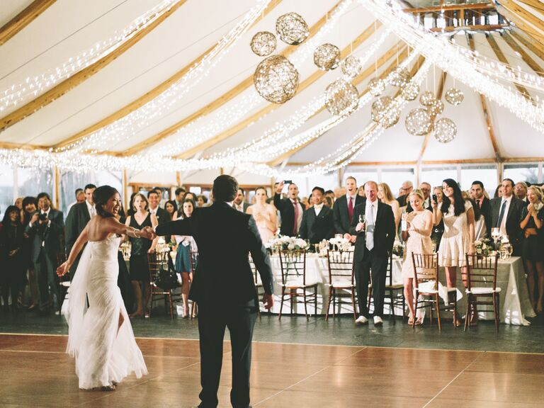 Bride And Groom S First Dance At Tented Wedding Reception