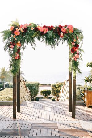 Burgundy and Pink Floral Arch With Garden Roses