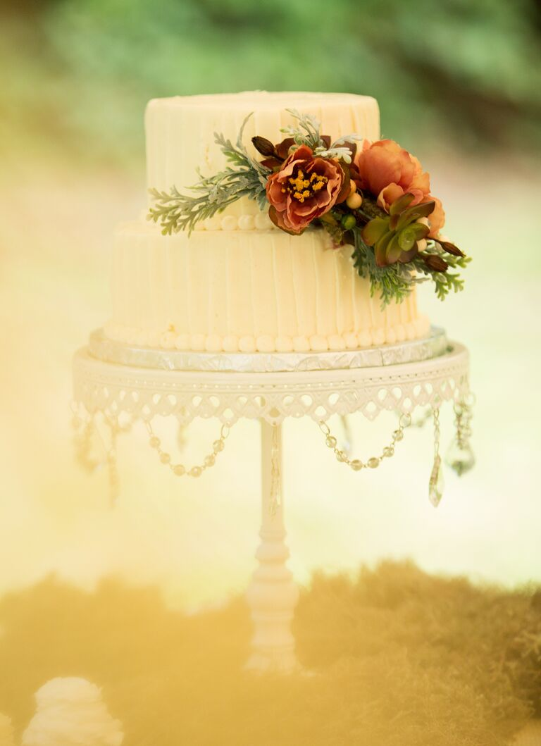 A Simple Bridal Shower Cake With Flowers