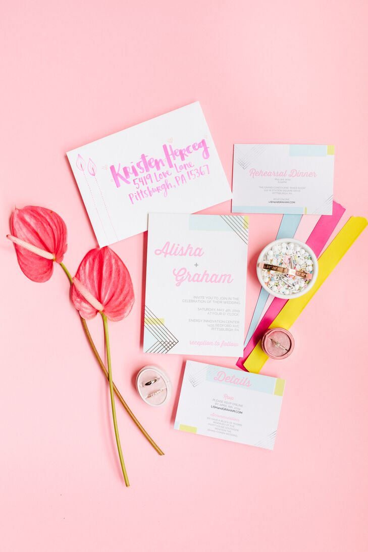 Modern Invitations with Pink Typography