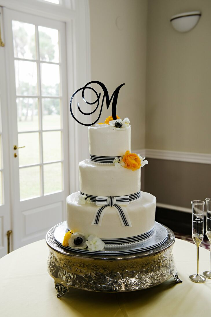 Black And White Striped Wedding Cake