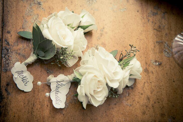 Triple White Rose Boutonnieres