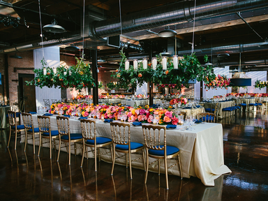 white and blue natural wedding reception