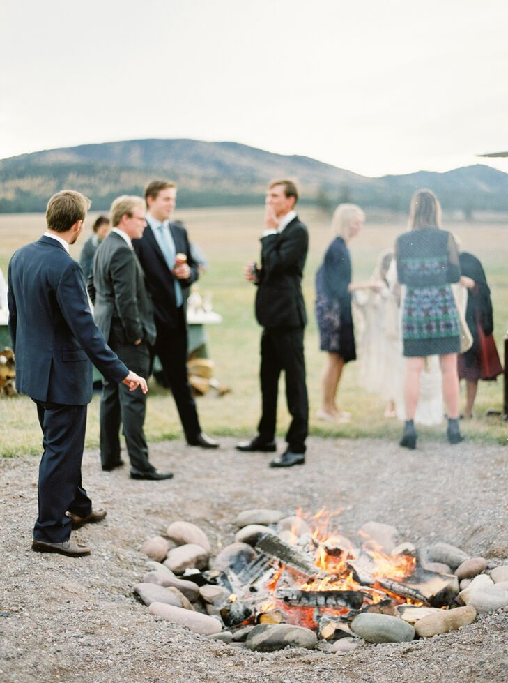 """After the ceremony we gathered in a field and had drinks and ate smore's around an open fire,"" Sarah says."